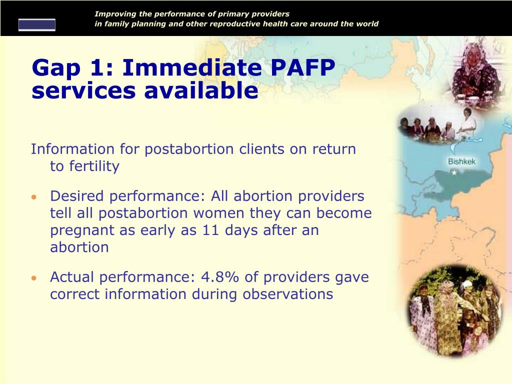 Gap 1: Immediate PAFP services available