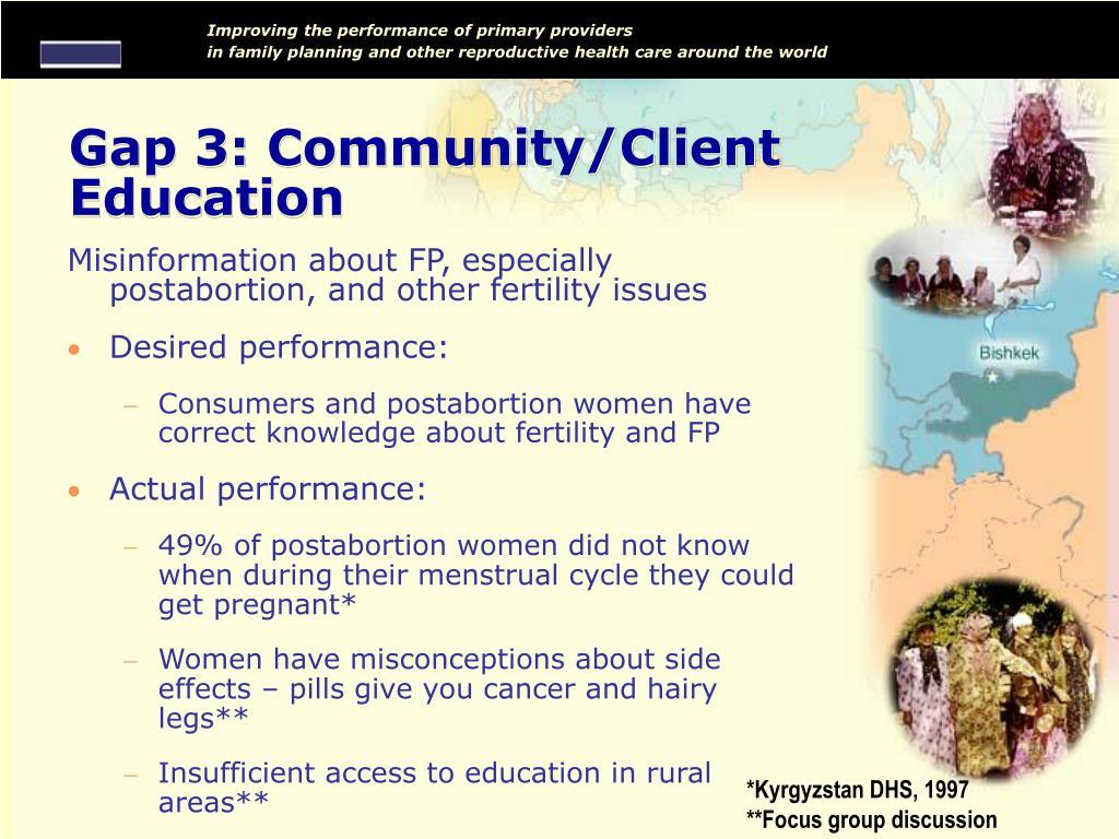 Gap 3: Community/Client Education