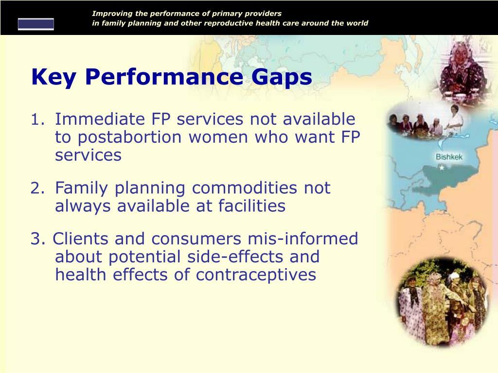 Key Performance Gaps