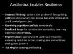 aesthetics enables resilience