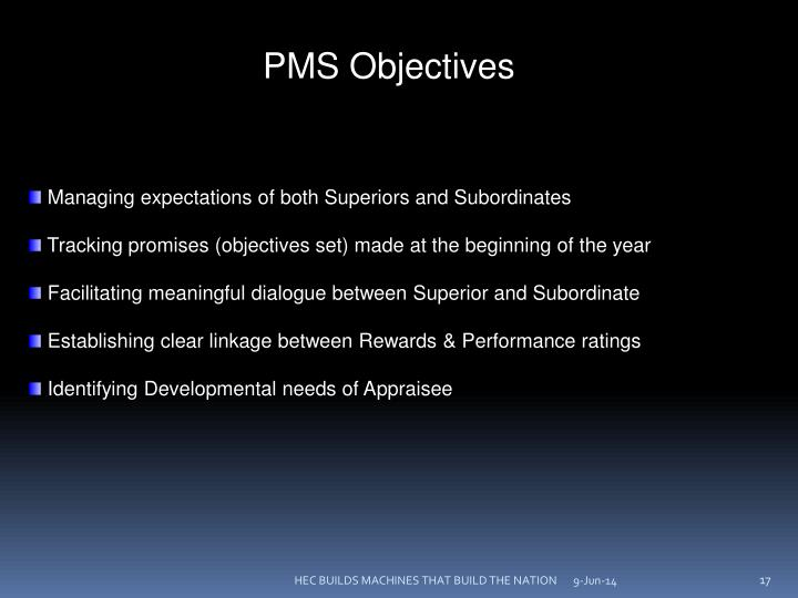 PMS Objectives