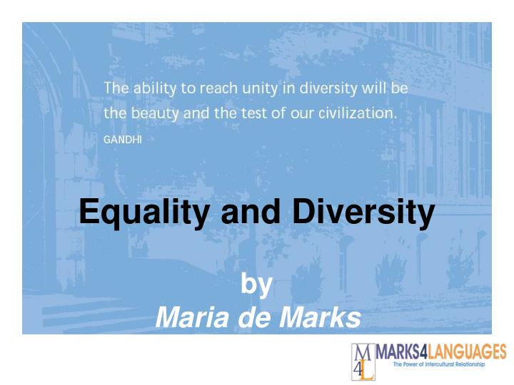 equality and diversity by maria de marks n.