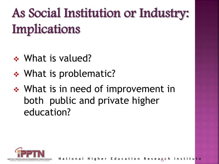 As Social Institution or Industry: Implications