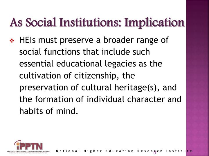 As Social Institutions: Implication
