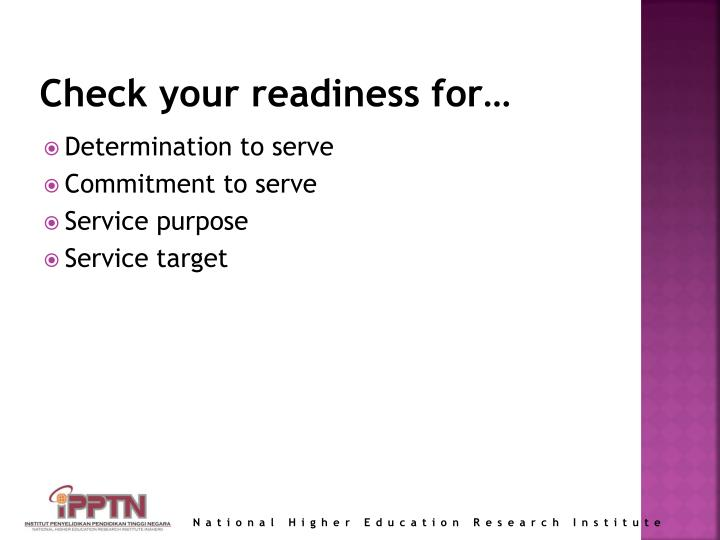 Check your readiness for…