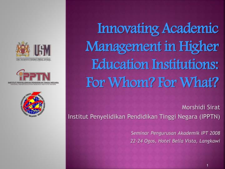 Innovating academic management in higher education institutions for whom for what