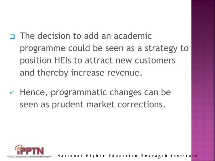 The decision to add an academic programme could be seen as a strategy to position HEIs to attract new customers and thereby increase revenue.