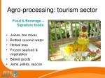 agro processing tourism sector