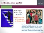 setting goals or quotas