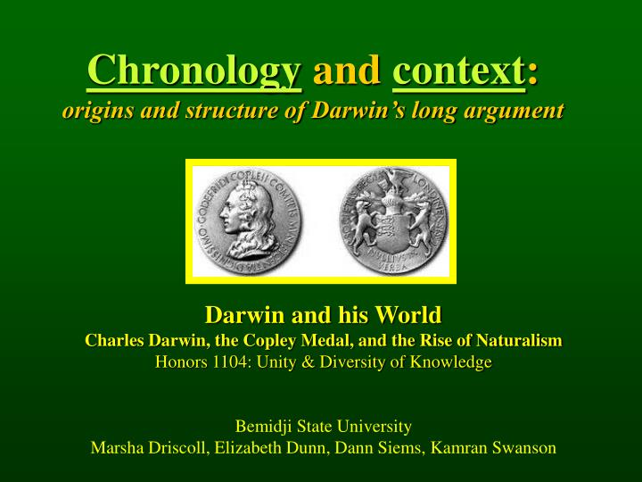 chronology and context origins and structure of darwin s long argument n.