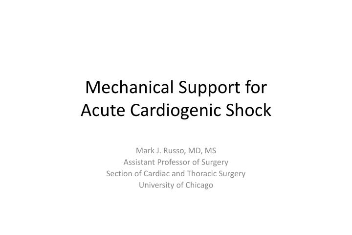 mechanical support for acute cardiogenic shock n.