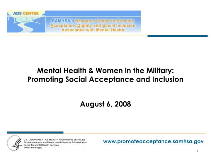 mental health women in the military promoting social acceptance and inclusion n.