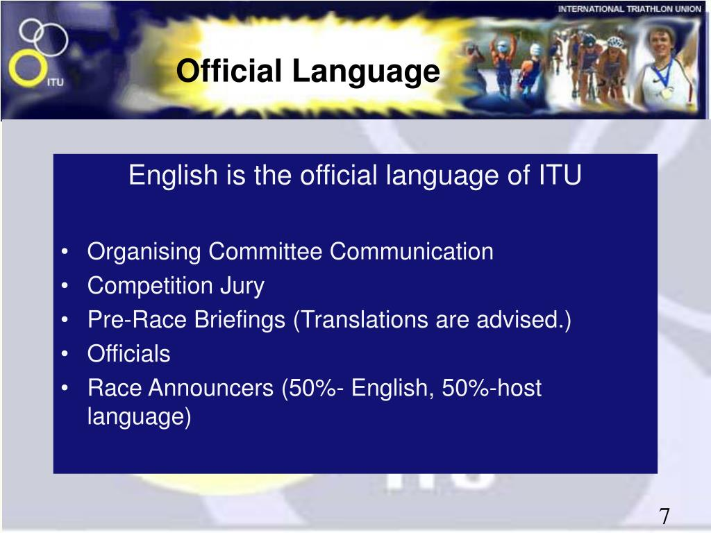 English is the official language of ITU