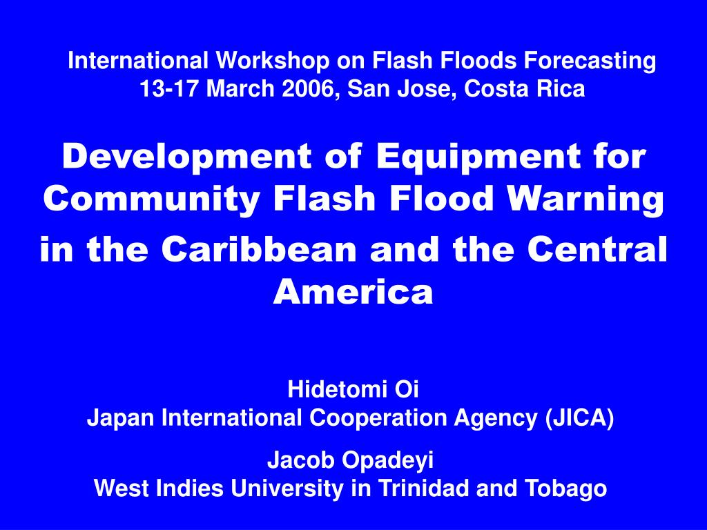 international workshop on flash floods forecasting 13 17 march 2006 san jose costa rica l.