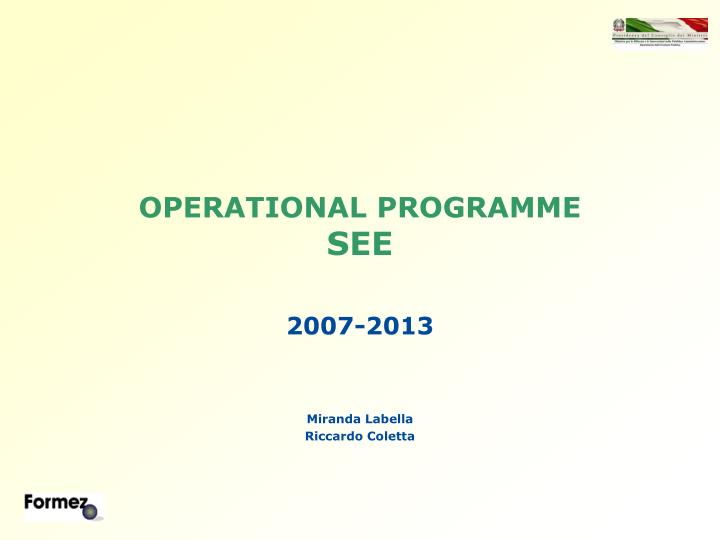 operational programme see n.