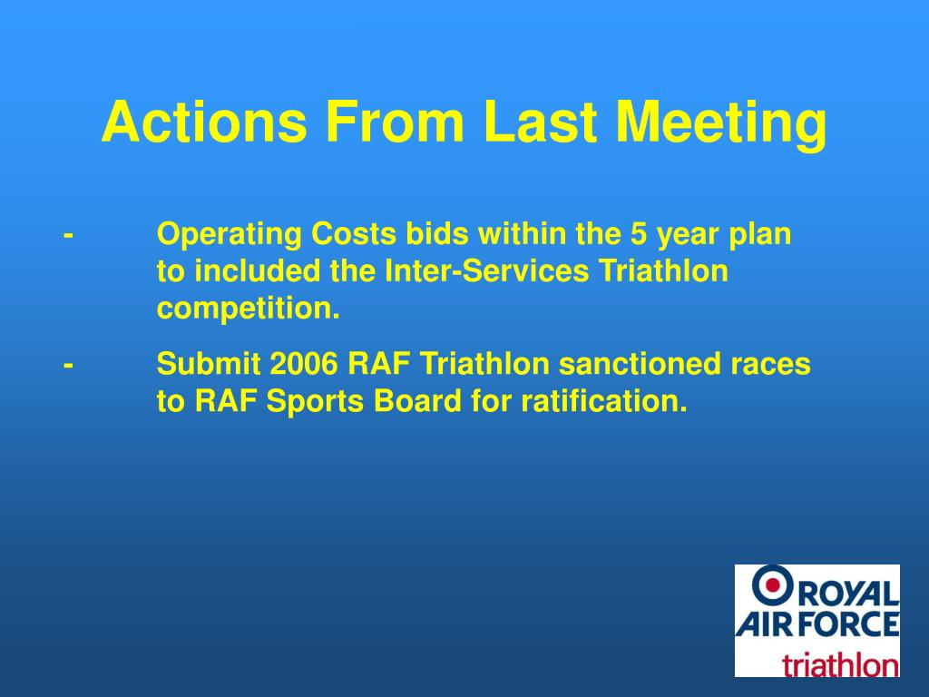 Actions From Last Meeting