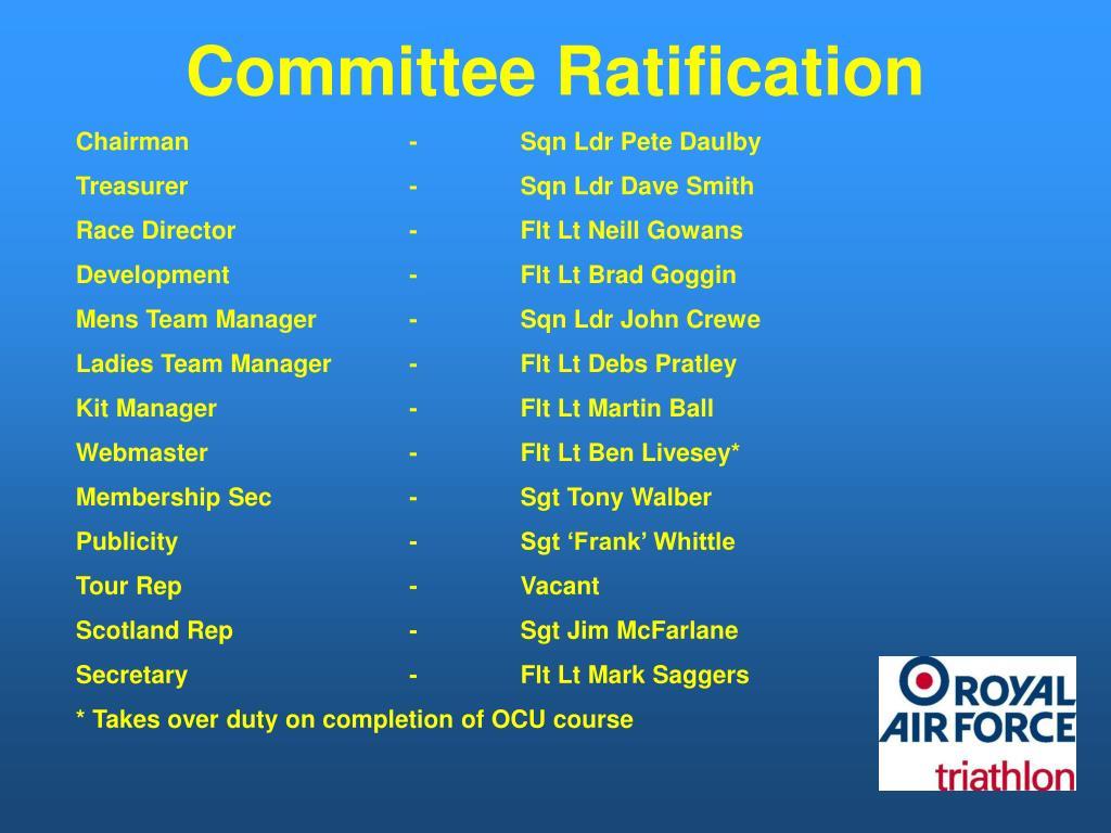 Committee Ratification