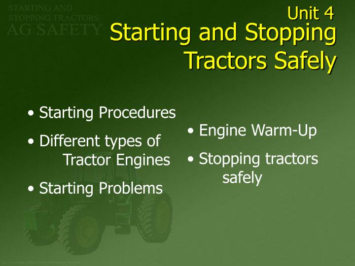 starting and stopping tractors safely n.