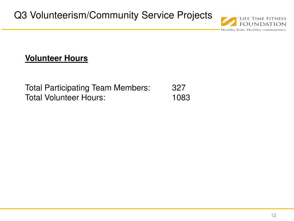 Q3 Volunteerism/Community Service Projects