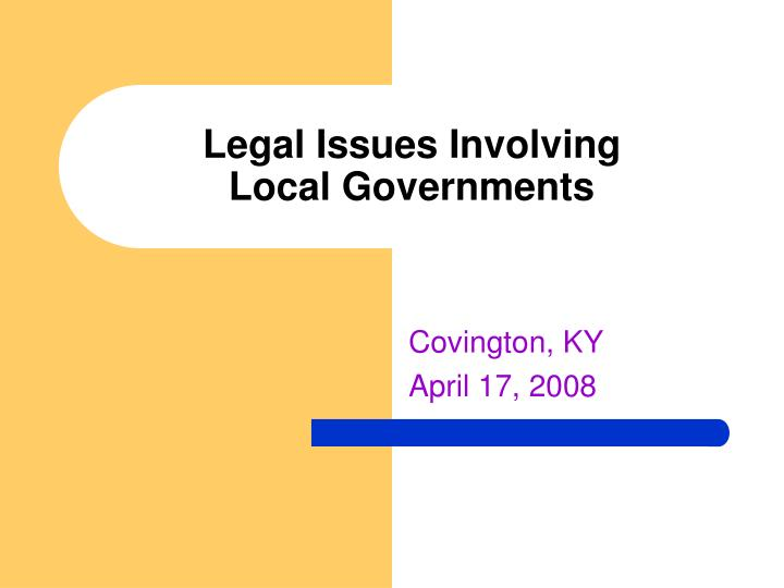 legal issues involving local governments n.