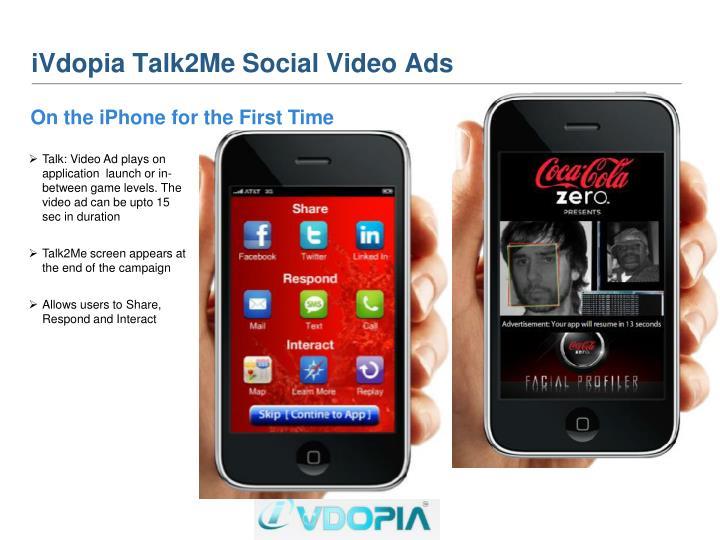 iVdopia Talk2Me Social Video Ads