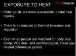 exposure to heat