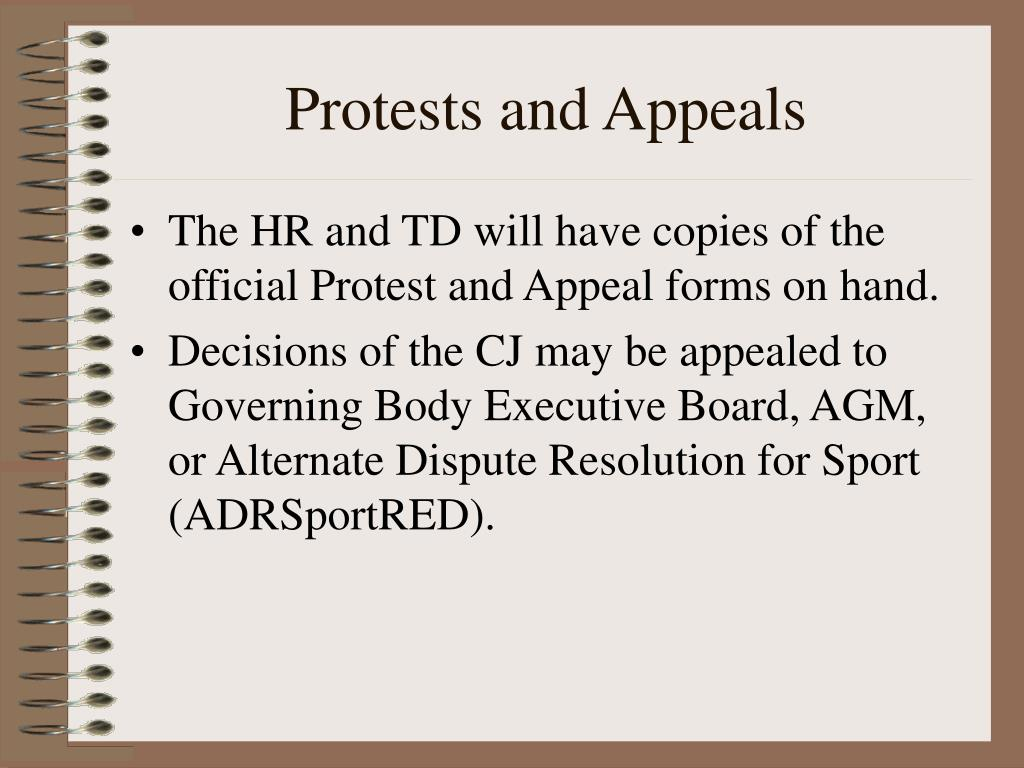 Protests and Appeals