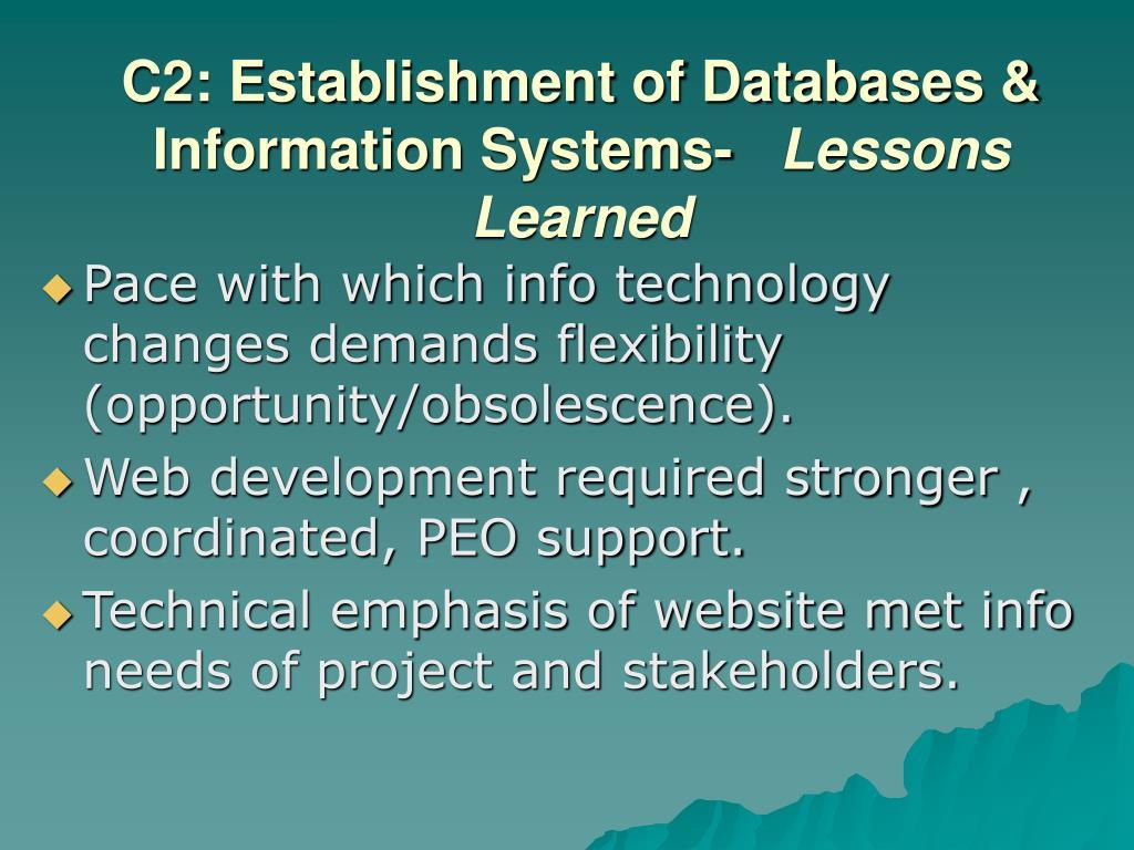 C2: Establishment of Databases & Information Systems-