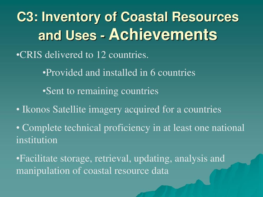 C3: Inventory of Coastal Resources and Uses -