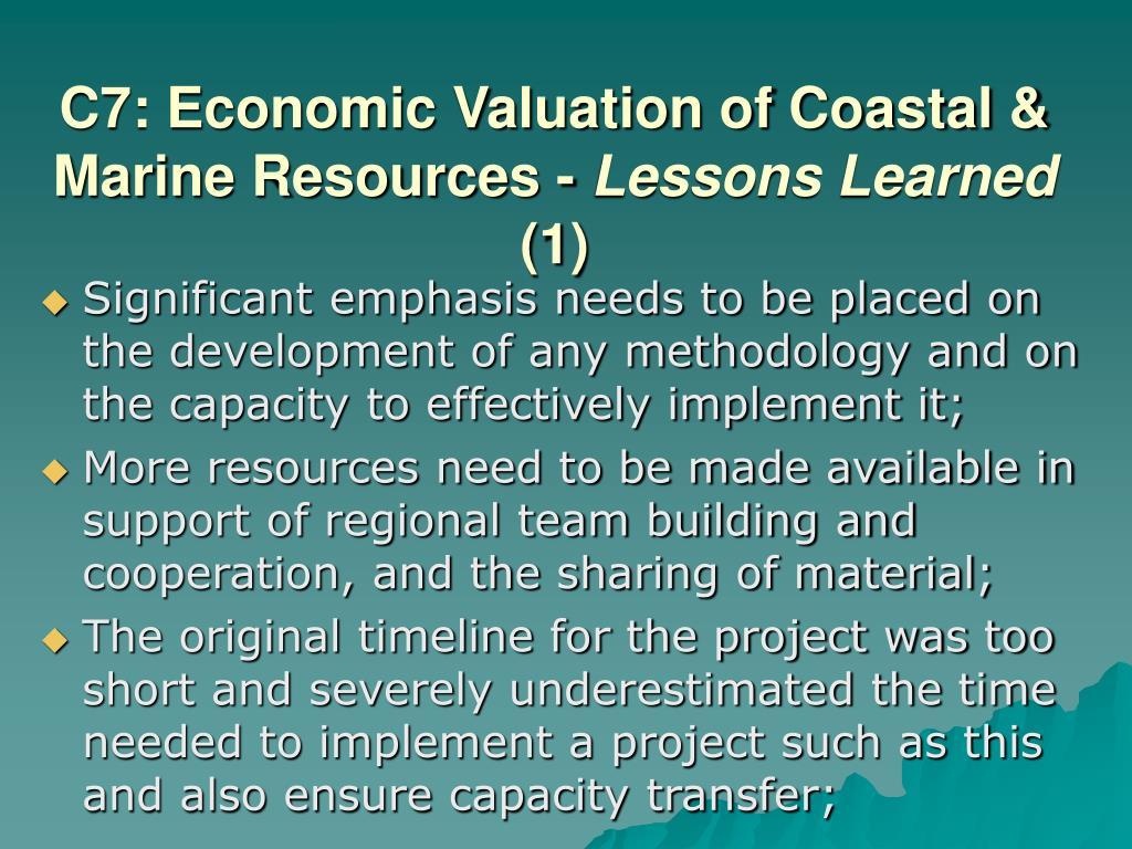 C7: Economic Valuation of Coastal & Marine Resources -