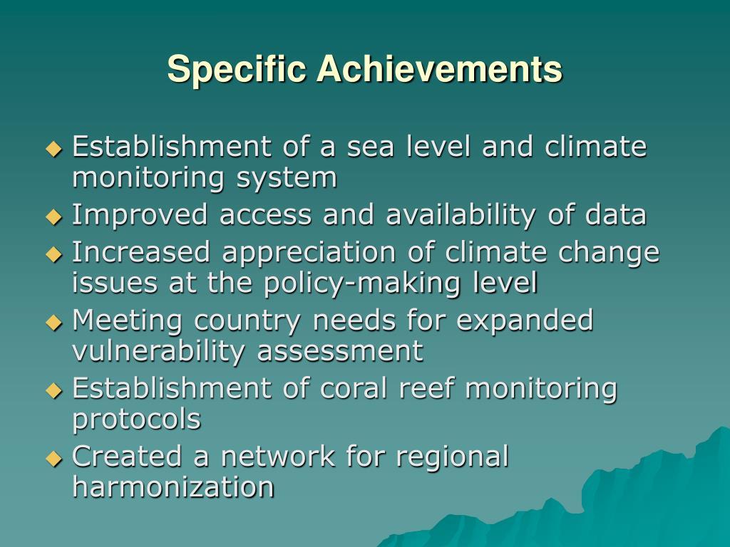 Specific Achievements