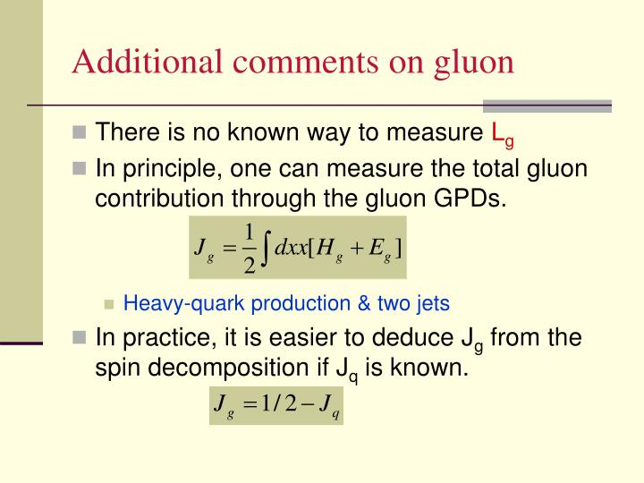 Additional comments on gluon