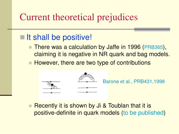 Current theoretical prejudices