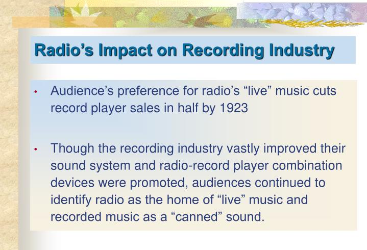"Audience's preference for radio's ""live"" music cuts record player sales in half by 1923"
