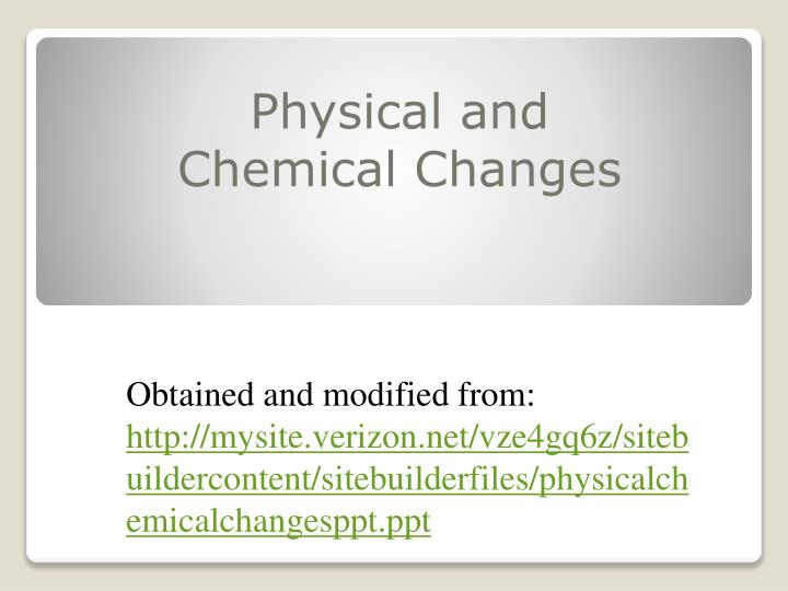 physical and chemical changes n.