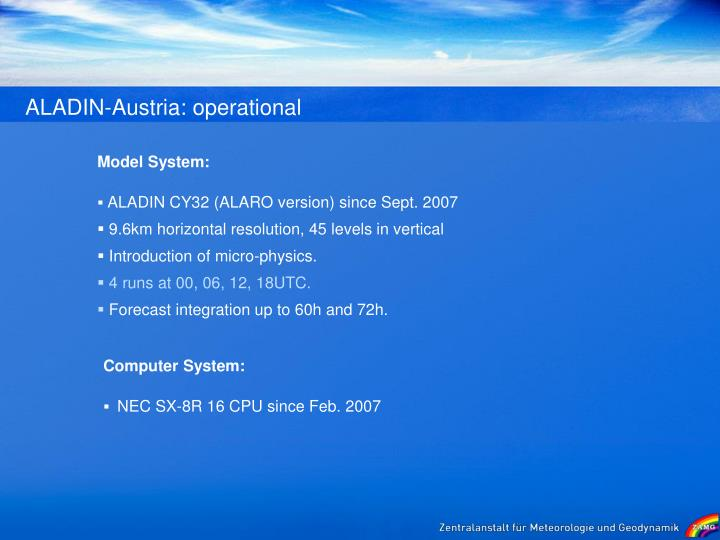 ALADIN-Austria: operational