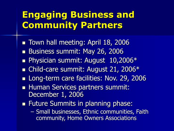 Engaging Business and Community Partners