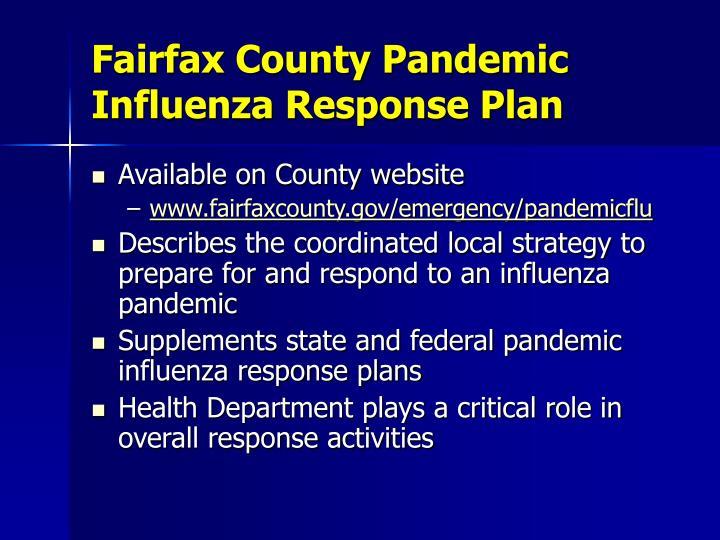 Fairfax County Pandemic Influenza Response Plan