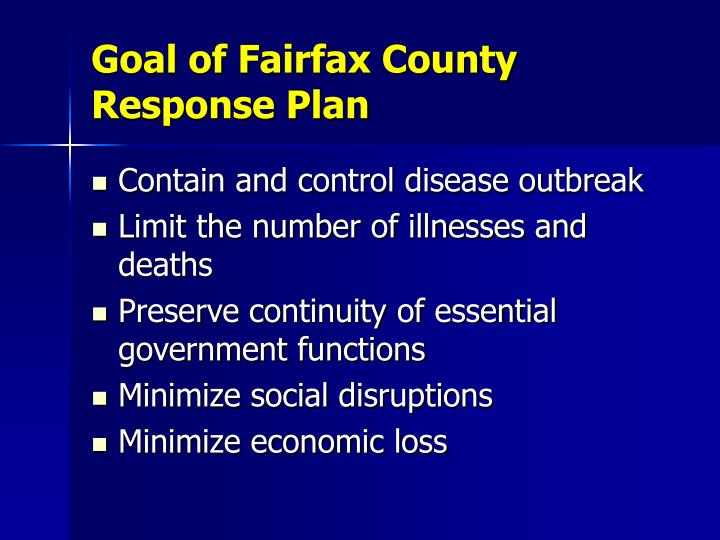 Goal of Fairfax County Response Plan