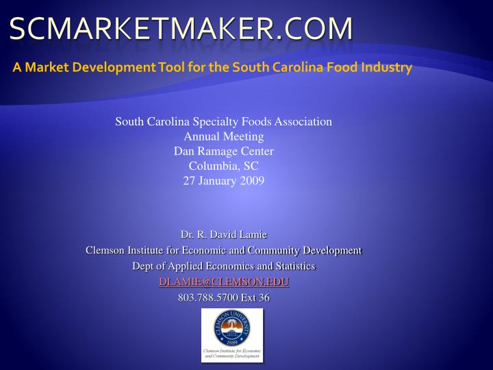 a market development tool for the south carolina food industry n.