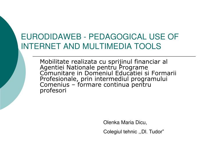 eurodidaweb pedagogical use of internet and multimedia tools n.