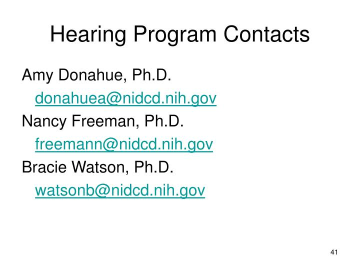 Hearing Program Contacts