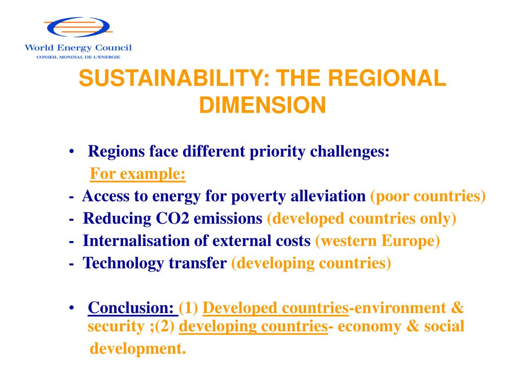 SUSTAINABILITY: THE REGIONAL DIMENSION