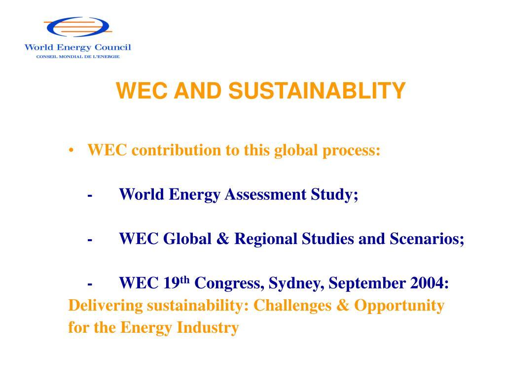 WEC AND SUSTAINABLITY