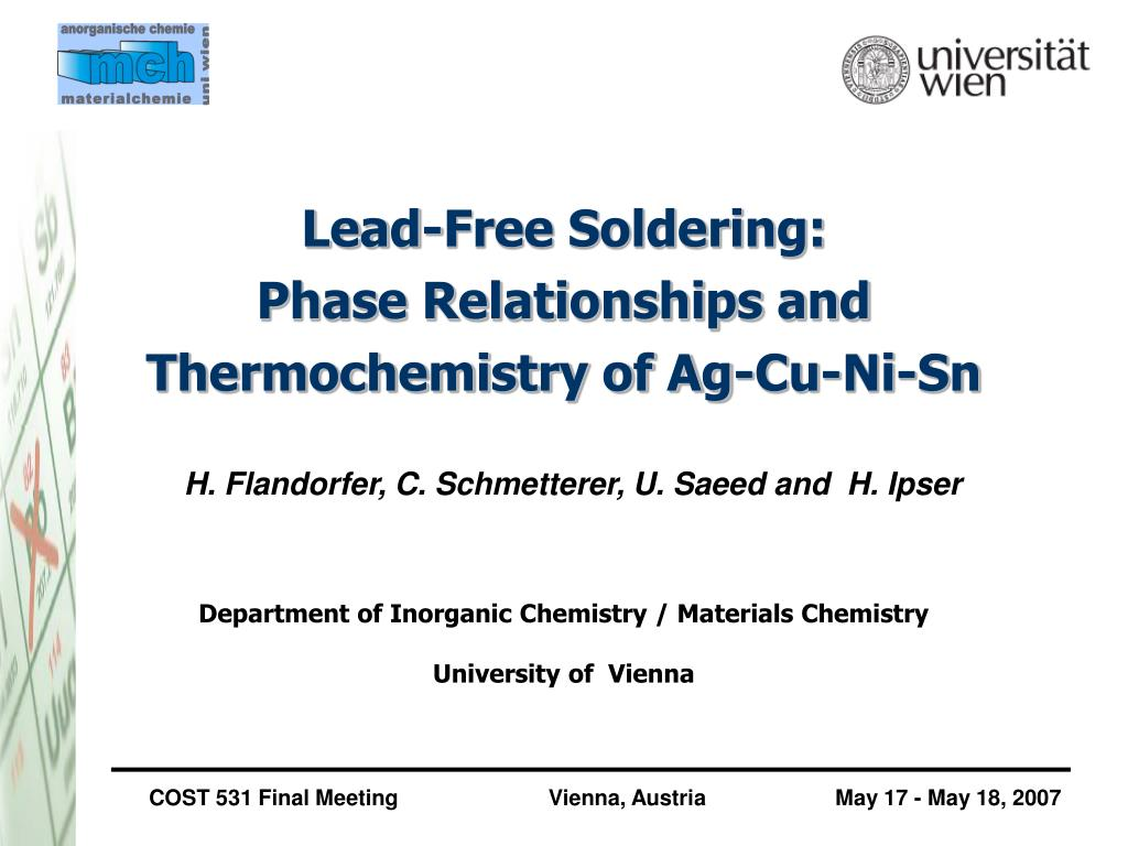 lead free soldering phase relationships and thermochemistry of ag cu ni sn l.