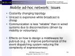 mobile ad hoc network issues