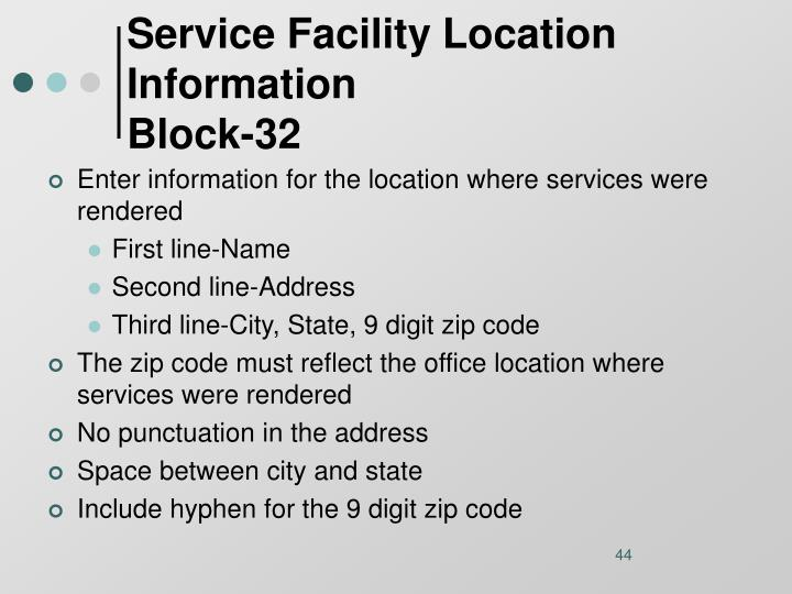 Service Facility Location Information