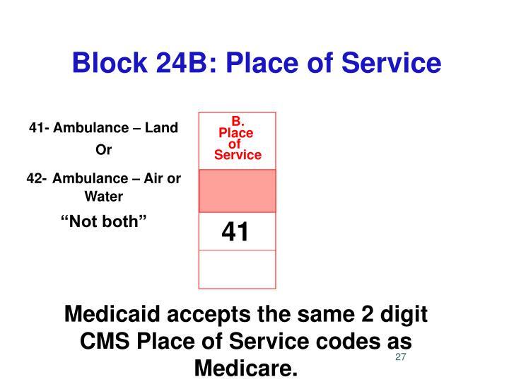 Block 24B: Place of Service