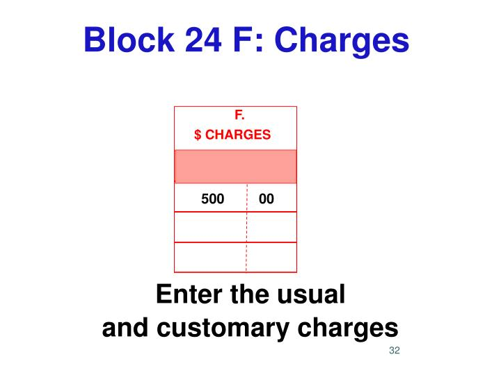 Block 24 F: Charges