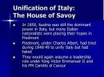 unification of italy the house of savoy